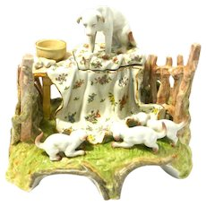 Antique Conta & Boehme German Porcelain Inkwell with Dog & Puppies c. early 1900's