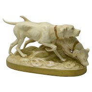 Rare Royal Dux Hunting Dog Pair Figurine c.1920