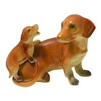 Vintage Ceramic Dachshund & Puppy