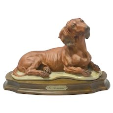 Capodimonte Porcelain Dachshund by G. Armani Signed