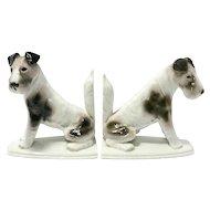 Pfeffer Porcelain Fox Terrier Bookends early 1900's