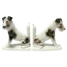 Pfeffer Porcelain Fox Terrier Bookends early 1900's
