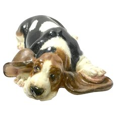 Large Hand-Painted Ceramic Basset Hound Figurine