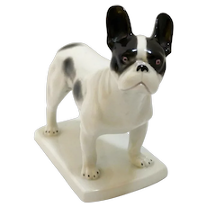 Antique Heubach Boston Terrier French Bulldog Figurine