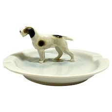 Porcelain Fox Terrier Ashtray Metzler Ortloff