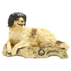 Victorian Bisque Reclining Dog Figurine