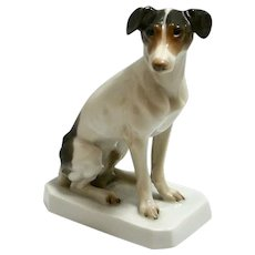 Antique Rosenthal Seated Fox Terrier Dog c.1923