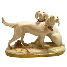 Rare Royal Dux Hunting Dog Pair Figurine c.1920