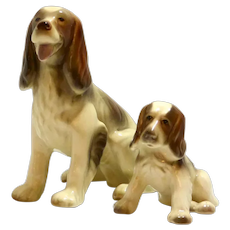 Goldscheider Sitting Porcelain Spaniel with Pup USA c.1940