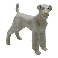 Hungarian Porcelain Airedale Dog Figurine
