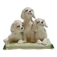 Italian Hand Painted Porcelain Puppy Dog Trio