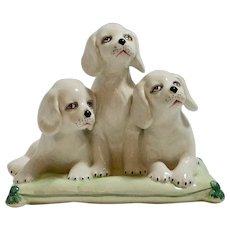 Italian Hand Painted Porcelain Puppy Trio