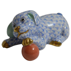 Herend Puppy Dog With Ball Blue Fishnet