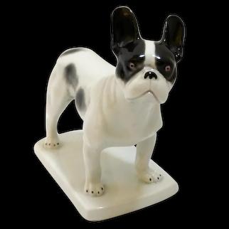 Antique Heubach Boston Terrier French Bulldog Dog Figurine