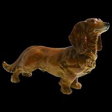 Karl Ens Long-Haired Dachshund Dog Porcelain Figurine