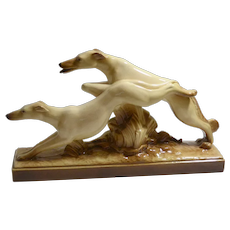 Art Deco Borzoi Dogs Running Figurine - French - Lemanceau c.1930's
