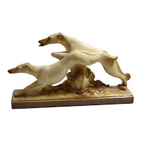Art Deco Greyhound and Borzoi Dogs Running Figurine - French - Lemanceau c.1930's
