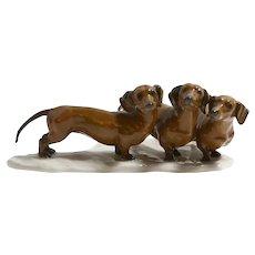 Rosenthal Three Dachshund Dogs Porcelain Figurine