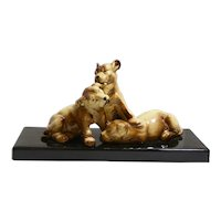 Large French Faience Porcelain Art Deco Puppy Dogs Playing