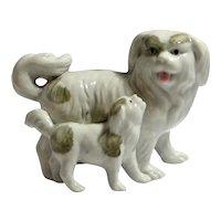 Vintage Chinese Porcelain Pekingese Dog and Puppy