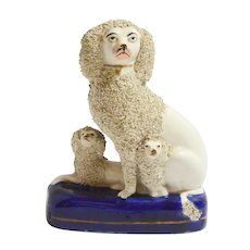 Mid 19th Century Staffordshire Poodle Dog with Pair of Pups