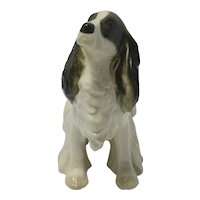 Porcelain Black & White Springer Spaniel Figurine Lomonosov