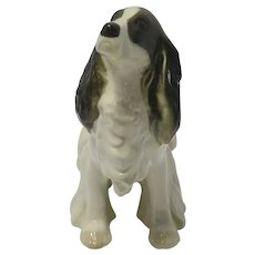 Porcelain Black & White Springer Spaniel Figurine Lomonosov