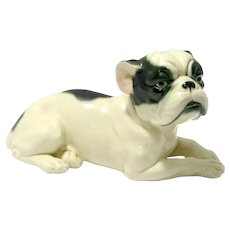 Hand-Painted Porcelain Reclining Boston Terrier
