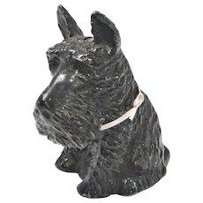 Die Cast Metal Scottish Terrier Still Bank with Key c. 1930's