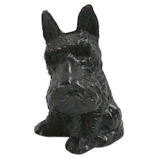 Die Cast Metal Scottish Terrier Bank with Key c. 1930's