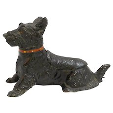 "Vintage Cold Painted Scottie Dog Pipe Holder ""Secret Hideaway"""