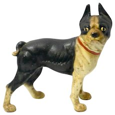 Vintage Hubley Cast Iron Boston Terrier Doorstop c. early 1900's