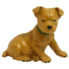 Vintage Cast Iron Boxer Puppy Still Bank