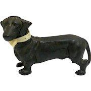 Vintage Dachshund Dog Still Coin Bank/Doorstop Cast Iron