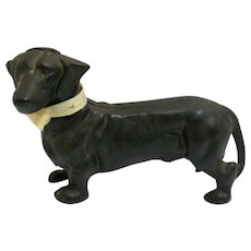 Vintage Dachshund Dog Still Coin Bank/Doorstop Cast Iron