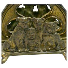 Rare Antique Judd Cast Iron Bulldog Letter Holder USA c.1910