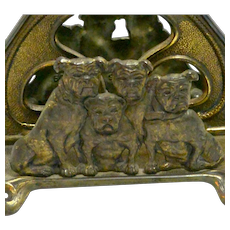 Rare Antique Judd Cast Iron Bulldog Letter Holder USA c.1910
