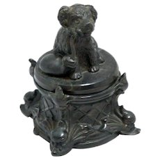 Antique Figural Inkwell with Dog c. 1870 - early 1900's