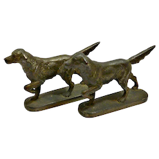 Antique Cast Iron Sporting Dog Bookends c.1920's