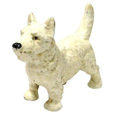 Vintage Cast Iron White Scottish Terrier Doorstop