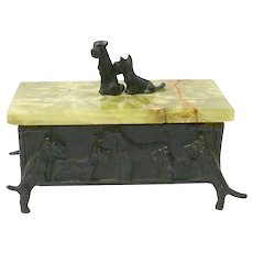 Vintage Scottish and Welsh Terrier Humidor Box c. 1940's