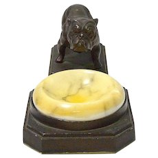 Nuart Deco Bronze Bulldog Ashtray / Tray c.1930's