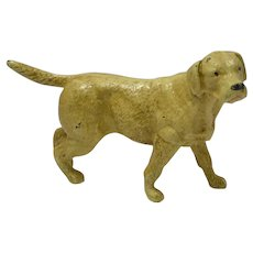 Vintage Cast Iron Yellow Labrador Retriever Doorstop