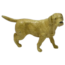 Vintage Cast Iron Yellow Labrador Retriever Doorstop