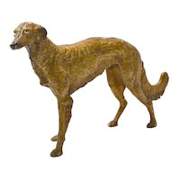Antique Cast Iron Large Borzoi Dog c.1920's