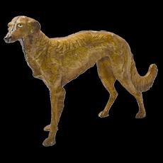 Antique Cast Iron Large Borzoi Dog c.1920's