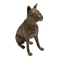 Vintage Cast Iron Boxer Dog Figurine