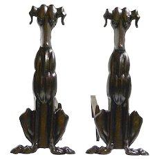Art Deco Cast Iron Dog Andirons c.1920's-1930's