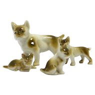 French Bulldog Mother and Three Puppies Figurines Germany c. 1960's