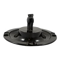 Art Deco Greensburg Glass Works Ebony Wire-Haired Fox Terrier Dog Ashtray c. 1920's-1930's